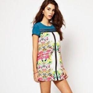 ASOS petite neón floral design mesh dress